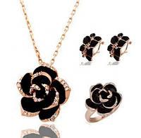 Набор подвеска,серьги и кольцо Черная Роза