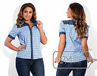 Женская рубашка батал в голубую клетку с джинсовыми вставками . Арт-1731/41