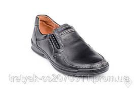 Мужские кожаные мокасины демисезон чёрного цвета