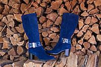 Женские синие сапоги из натурального замша