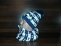 Набор шапка+шарф хомут детская-подросток флис