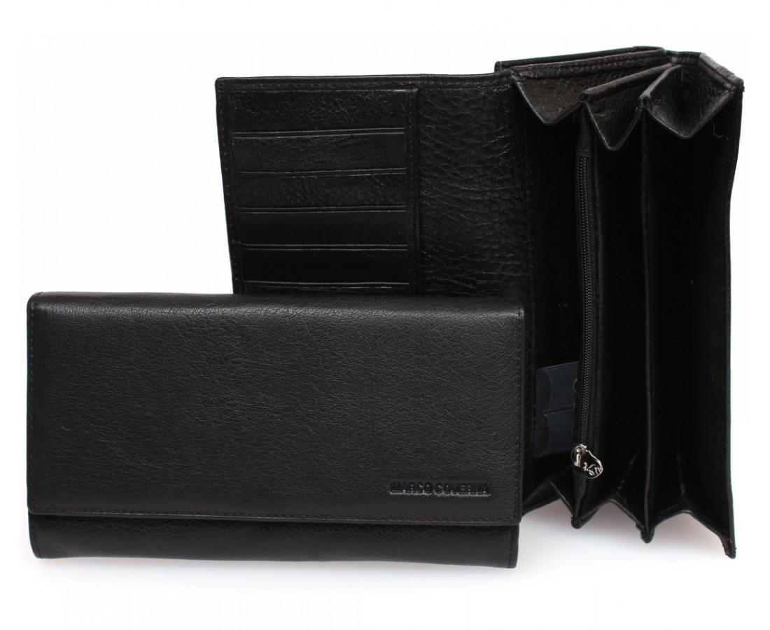 c41325298451 Большой женский кошелек марко Коверна в черном цвете с отделением для кредитных  карт. (16173)