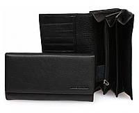 Большой женский кошелек марко Коверна в черном цвете с отделением для кредитных карт. (16173)