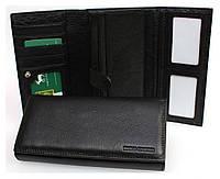 Большой женский кошелек марко Коверна в черном цвете с внутренним отделением для документов.