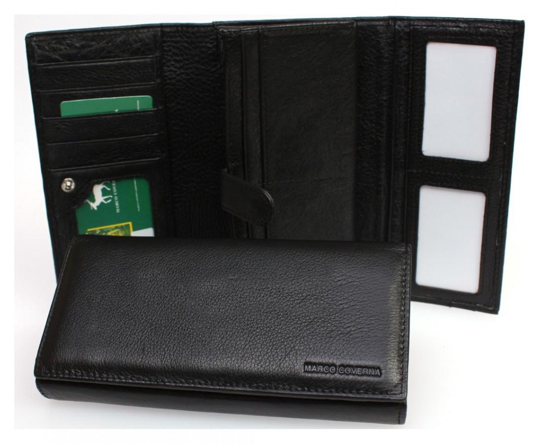 538808c15307 Большой женский кошелек марко Коверна в черном цвете с внутренним отделением  для документов. (604