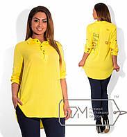 decc3c68e9a Желтая стильная рубашка-туника батал со стразами LOVE. Арт-1734 41
