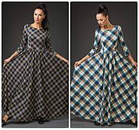 Стильное длинное платье в клетку. цвета!, фото 1