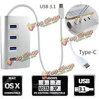 Высокоскоростном 4 USB порта 3.1 USB концентратор с портативный алюминиевый ступица адаптер для новых MacBook Air PC ноутбук