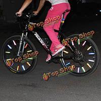 12шт велосипед колеса говорил отражательный рефлектор Маунт зажим трубки