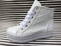 Ботинки женские кожаные на толстой подошве белые AL0027
