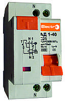 Диф. автомат АД 1-40 1Р+N 16А 30mA 6kA электромеханический Electro