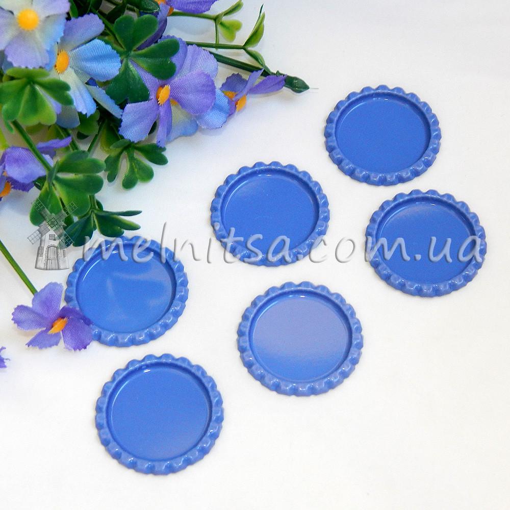 Крышечка - серединка для бантиков + эпоксидная наклейка, синий
