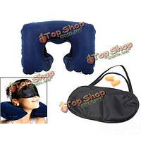 Путешествия подушка шеи подушки надувные воздуха с беруши глаз маска для сна