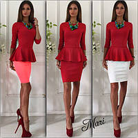 Костюм классический блузка с баской и короткая юбка разные цвета 2Kmil012