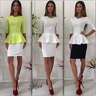 Костюм блузка с баской и короткая юбка яркие цвета 2Kmil011
