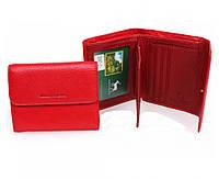Компактный женский кошелек-портмоне красного цвета Marco Coverna, натуральная кожа. (16178)
