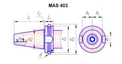 Оправки для кінцевих фрез з хвостовиком 7/24 за MAS403