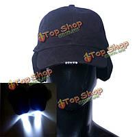 Чистого хлопка LED Колпачок свечение в темноте для чтения рыбалки бег трусцой защиты слуха свет вверх LED спорт шляпа