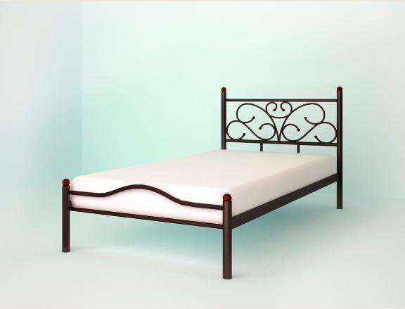 Кровать односпальная металлическая Эрика (коричневая)