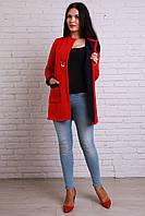 Модный красный кардиган из вязаного трикотажа