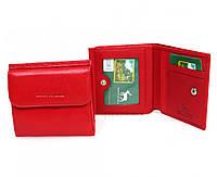 Компактный женский кошелек-портмоне с монетницей красного цвета Marco Coverna, натуральная кожа. (16179)