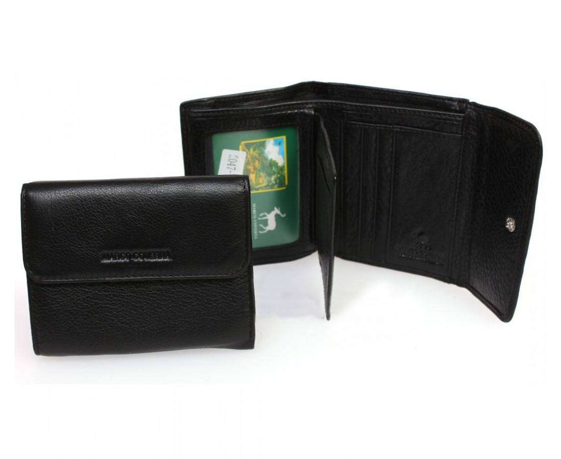 0fd7b3348380 Компактный женский кошелек-портмоне черного цвета Marco Coverna, натуральная  кожа. (213B-