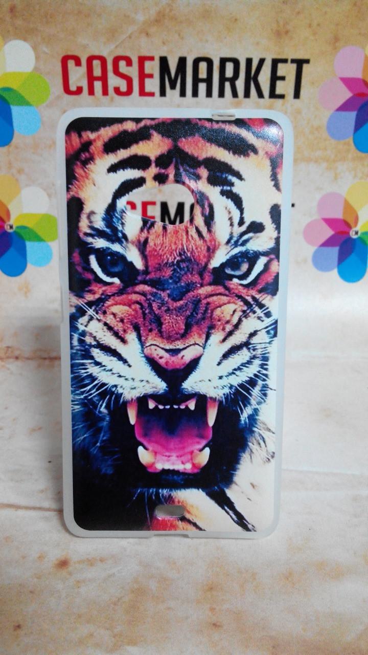 Чехол силиконовый бампер для Nokia Lumia 535 с рисунком Тигр