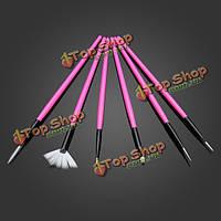 6шт розовый УФ гель ногтей искусство живопись графика вкладыш расставить Pen набор кистей