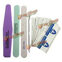5в1 ногтей искусство файл маникюр набор инструментов толкатель UV-гель для ногтей очистки ватные подушечки