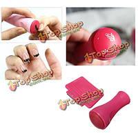 Ярко-розовый краской штамп скребок набор искусства ногтя штамповка украшения