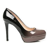 Туфли женские лаковые черно-серые с эффектом омбре