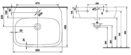 Умывальник с отверстием,с переливом 55*45 см (пол.) KOLO STYLE (L21955000), фото 2