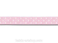 Репсовая лента мелкий горошек, ширина 1 см, 1 м, цвет розовый