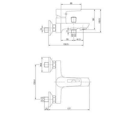 Смеситель для ванны, хром/белый, 35 мм IMPRESE BRECLAV (10245W), фото 2