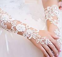 Перчатки кружевные свадебные длинные