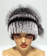 Меховые шапки из комбинированного меха чернобурки и rex rabbit Кубанка (ч.ш.)