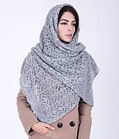 Стильная женская ажурная шаль серого цвета