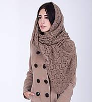 Модная женская ажурная шаль бежевого цвета