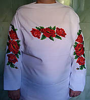 Женская вышиванка вышитая бисером Маки 2