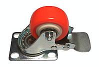 Колесо оранжевое поворотное д50 на подшипниках с блокировкой