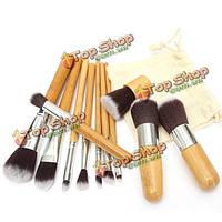 11 шт/деревянной ручкой косметические кисти макияж кисти набор теней для век корректор