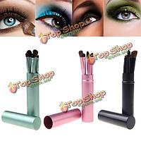 5шт косметический макияж тени глаза губы кисти набор цилиндров случае