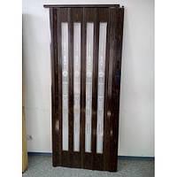 Дверь гармошка остекленная, 7103 Орех
