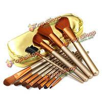 12шт золото профессиональный макияж румяна тени для глаз карандаш для глаз кисть с вещевой мешок молнию кожаный