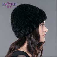 Меховая женская шапка утеплённая из вязанной норки на трикотажной основе