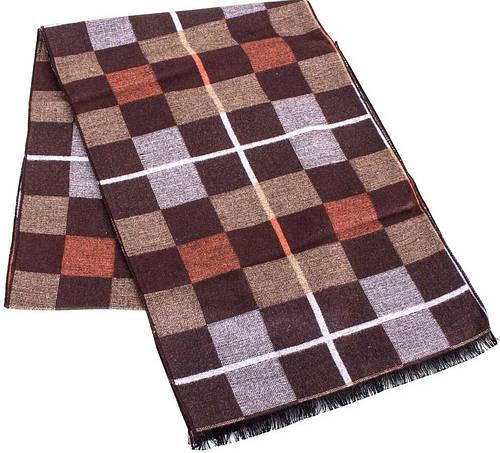 Практичный мужской шерстяной двухсторонний шарф 177 на 30 см ETERNO (ЭТЕРНО) ES2307-2 коричневый