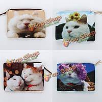 Квадрат кошка печать макияж кошелек молния мини бумажник монета косметический мешок