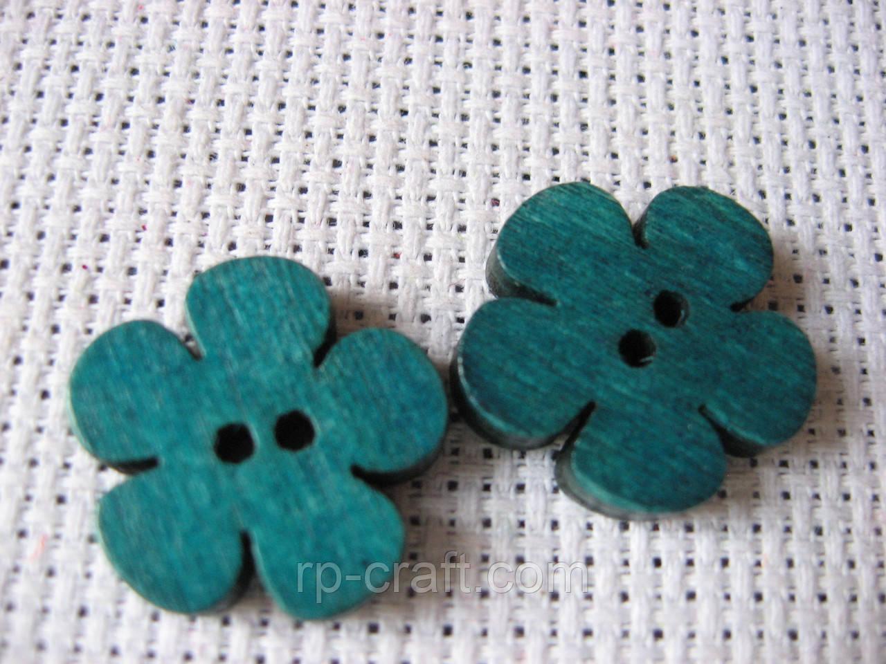Пуговица деревянная,цветок голубой