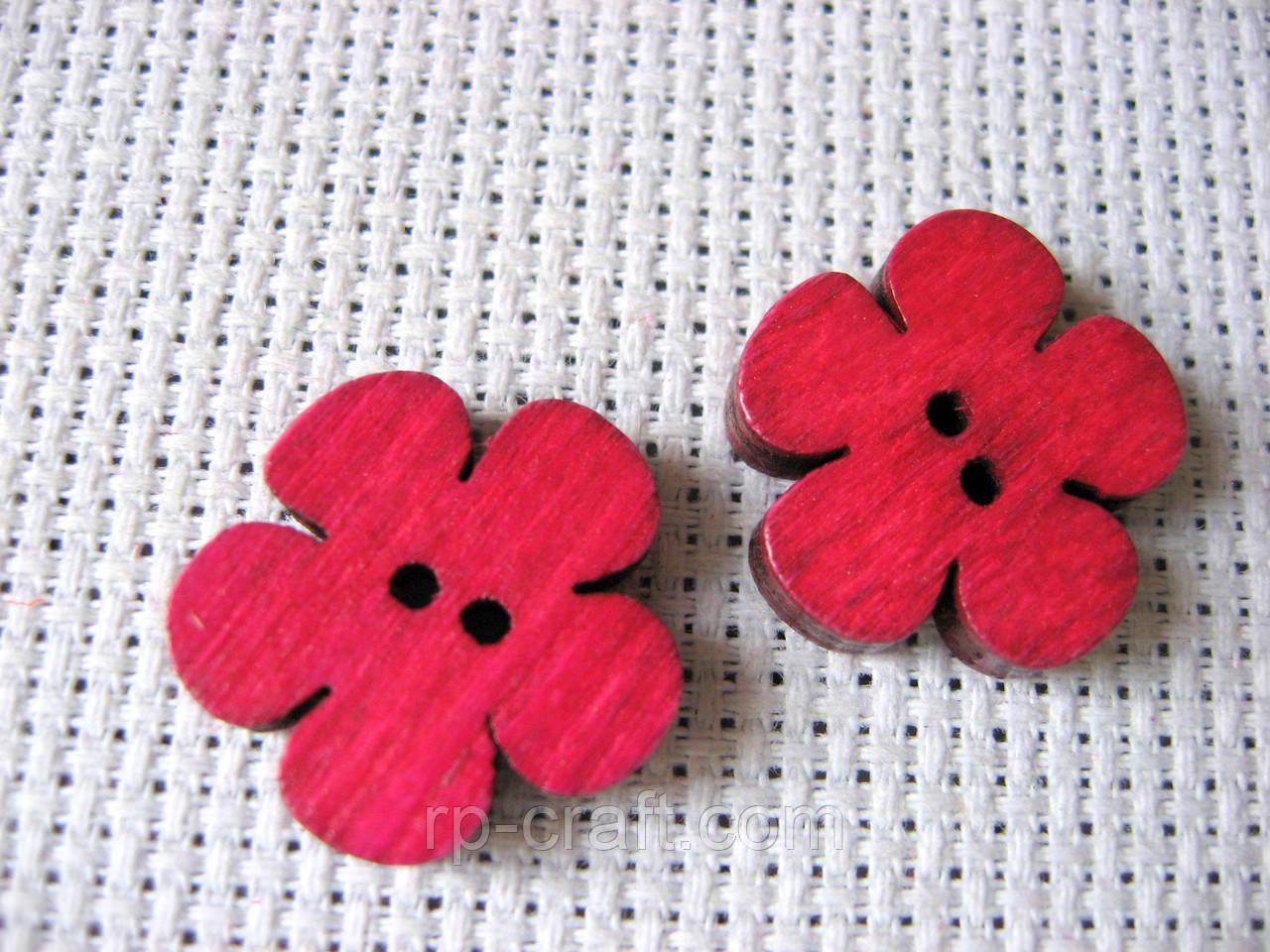 Пуговица деревянная,цветок розовый