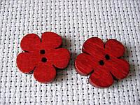 Пуговица деревянная,цветок красный